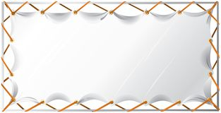 An blank white banner and a metal frame. vector illustration