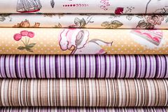 White Fabrics for Linens with Decorative Patterns Royalty Free Stock Image