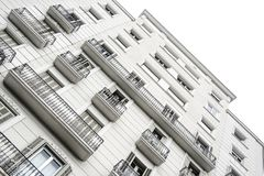 White facade of a tall building in a city. Real State concept with Vanishing point and empty copy space. For Editor`s text stock image