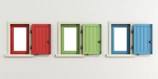 White facade with three colorful window Stock Photo