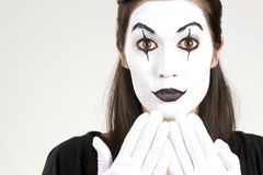 Speak no Evil Female Clown White Face Makeup Stock Photo