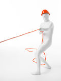 White faceless man with helmet pulls rope Royalty Free Stock Images