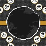 White faces wreath Halloween card with blank place Stock Image