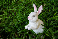 white fake rabbit in the grass Stock Image
