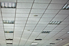 White false ceiling and incorporated lamps Royalty Free Stock Images