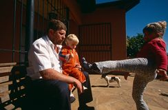 A white family at home in South Africa. Stock Image