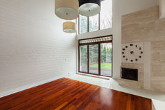 White family room. White empty family room with big window in wall Stock Photos