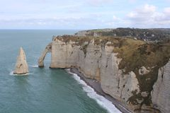 The white and famous cliffs of etretat, normandy, france royalty free stock photography