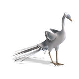 White fantasy bird with beautiful feathers. 3D. Rendering with clipping path and shadow over white Stock Images