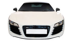 White fast car front view isolated Royalty Free Stock Image