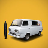 White fast food truck on yellow background template Royalty Free Stock Photos