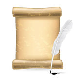 White feather and scroll Royalty Free Stock Photos