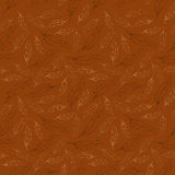 White feathers on brown background. Seamless vector pattern. Stock Photo