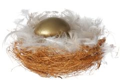 White Feathers and Golden Egg Royalty Free Stock Images