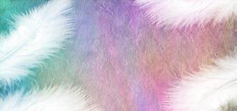 White Feathers on Rainbow Stone Effect Background Stock Photo