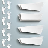 White Feetprint Track 4 Abstract Banners. Infographic design with white footprint and 4 banners on the grey background Royalty Free Stock Photos