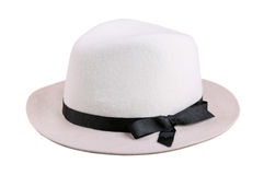 White felt hat with black ribbon isolated on white Stock Photo