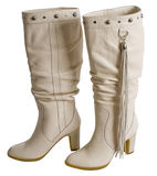 White female boots. Royalty Free Stock Images
