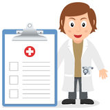 White Female Doctor with Medical Record. A cartoon white female doctor with a big medical record, isolated on white background. Eps file available Royalty Free Stock Images