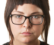 White Female with Nose Ring Royalty Free Stock Photos
