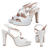 White female sandals isolated Royalty Free Stock Photography