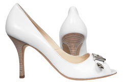 White female shoes Royalty Free Stock Photos