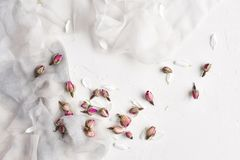 White feminine background with silk, white petals and dried rose. White feminine background with white and gray silk, white petals and dried roses. Copy space royalty free stock photo