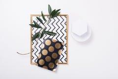White feminine tabletop flatlay stock images