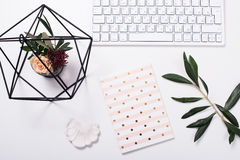 White feminine tabletop flatlay. Home office decor objects Royalty Free Stock Images