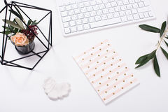 White feminine tabletop flatlay. Home office decor objects Stock Photo