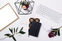 White feminine tabletop flatlay Royalty Free Stock Photography