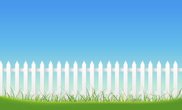 White Fence On Blue Sky Background Stock Images