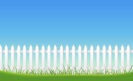 White Fence On Blue Sky Background Stock Images
