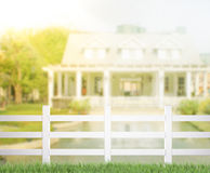 White Fence And Blur Building Background Royalty Free Stock Photo
