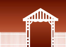 White fence brown background. White picket fence on a  brown background Stock Photo