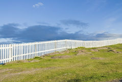White Fence at Cape Spear Royalty Free Stock Photos