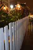 White fence at the Christmas fair Stock Images