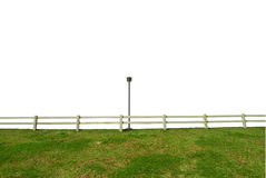 white fence post. White Fence In Farm Field And Lamp Post Royalty Free Stock Image