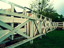 White fence on a farm for horses Royalty Free Stock Photography