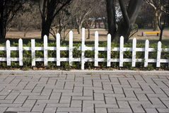 White fence of the garden in late autumn Royalty Free Stock Photos