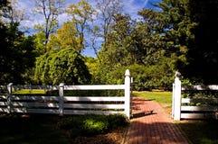 White Fence Gate stock photo