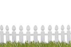 White fence and grass Royalty Free Stock Photo