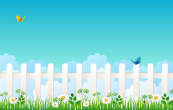 White fence with grass Royalty Free Stock Images