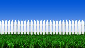 White fence and grass Stock Photo