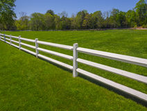 White fence on grass. White Picket Fence on a Horse Farm in Spring Stock Image