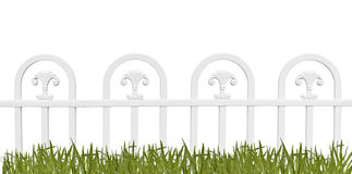 White fence and grass on white background Royalty Free Stock Images