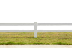 White fence on grassland isolated background Stock Image