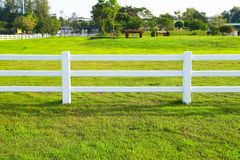 White fence in green farm. Field with blue sky Royalty Free Stock Photos