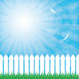 White fence and green grass on blue sky background. Vector illustration Stock Photography
