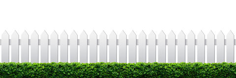 White fence and hedge. On white background stock images